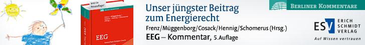 Frenz/Müggenborg/Cosack/Hennig/Schomerus (Hrsg.), EEG Kommentar. Subskriptionspreis bis zum 31. März 2018