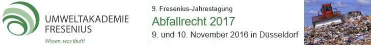9. Fresenius-Jahrestagung Abfallrecht 2017, 09.11. - 10.11.2016 in Düsseldorf